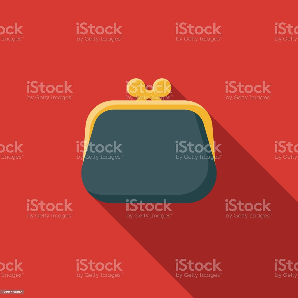 Flat Design Banking and Finance Coin Purse Icon with Side Shadow