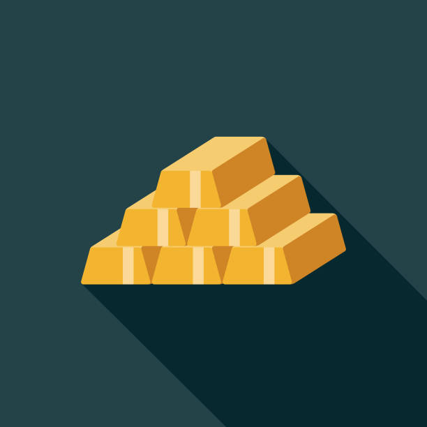 Flat Design Banking and Finance Gold Bar Icon with Side Shadow A flat design styled baking and finance icon with a long side shadow. File is built in CMYK for optimal printing. Color swatches are global so it's easy to edit and change the colors. ingot stock illustrations