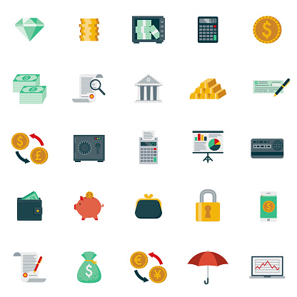 Flat Design Banking and Finance Icon Set