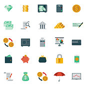A set of 25 banking and finance flat design icons on a transparent background. File is built in the CMYK color space for optimal printing. Color swatches are Global for quick and easy color changes.