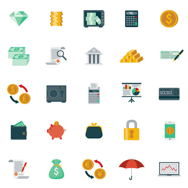Flat Design Banking and Finance Icon Set A set of 25 banking and finance flat design icons on a transparent background. File is built in the CMYK color space for optimal printing. Color swatches are Global for quick and easy color changes. banking icons stock illustrations