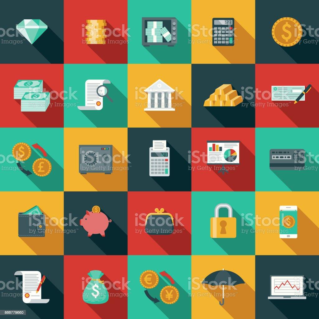 Flache Bauform Banking und Finance-Icon-Set mit Seite Schatten – Vektorgrafik