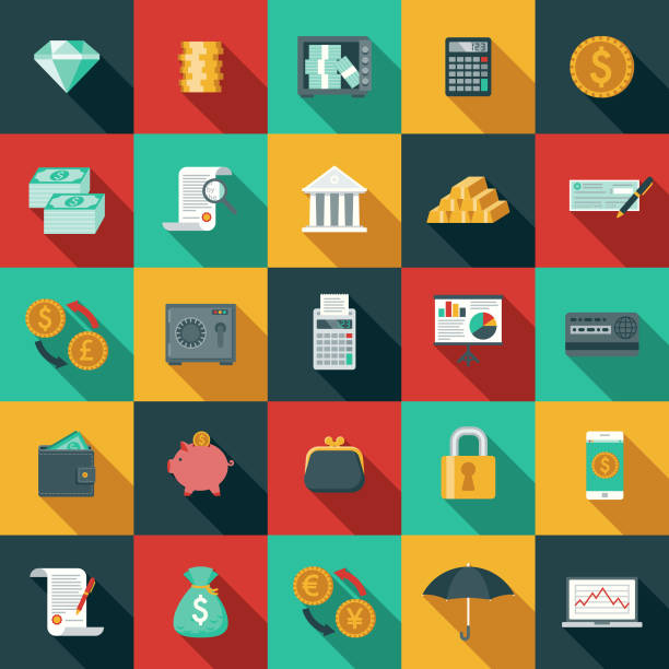 Flat Design Banking and Finance Icon Set with Side Shadow A set of flat design styled finance and banking icons with a long side shadow. File is built in CMYK for optimal printing. Color swatches are global so it's easy to edit and change the colors. change purse stock illustrations