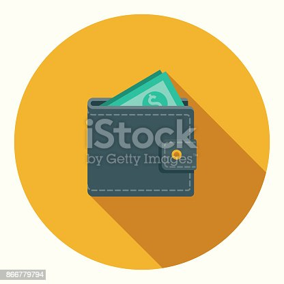 istock Flat Design Banking and Finance Wallet Icon with Side Shadow 866779794