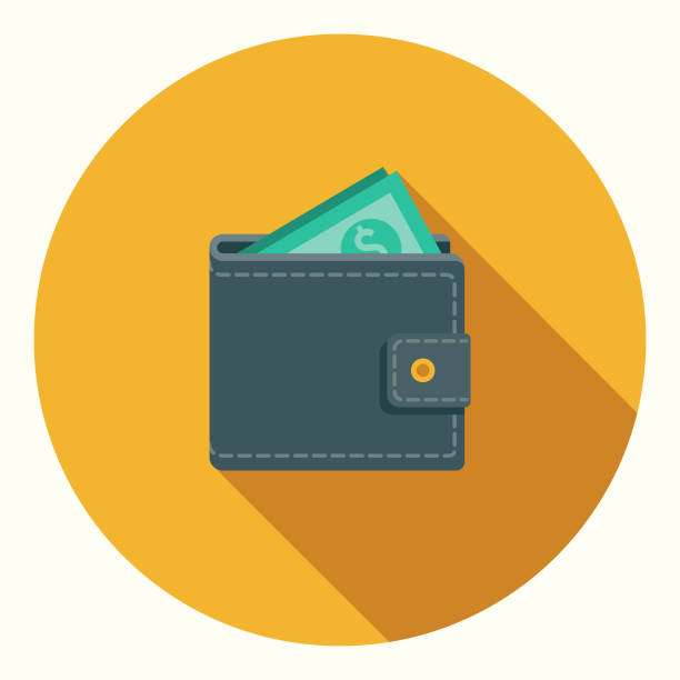 Flat Design Banking and Finance Wallet Icon with Side Shadow A flat design styled baking and finance icon with a long side shadow. File is built in CMYK for optimal printing. Color swatches are global so it's easy to edit and change the colors. wallet stock illustrations
