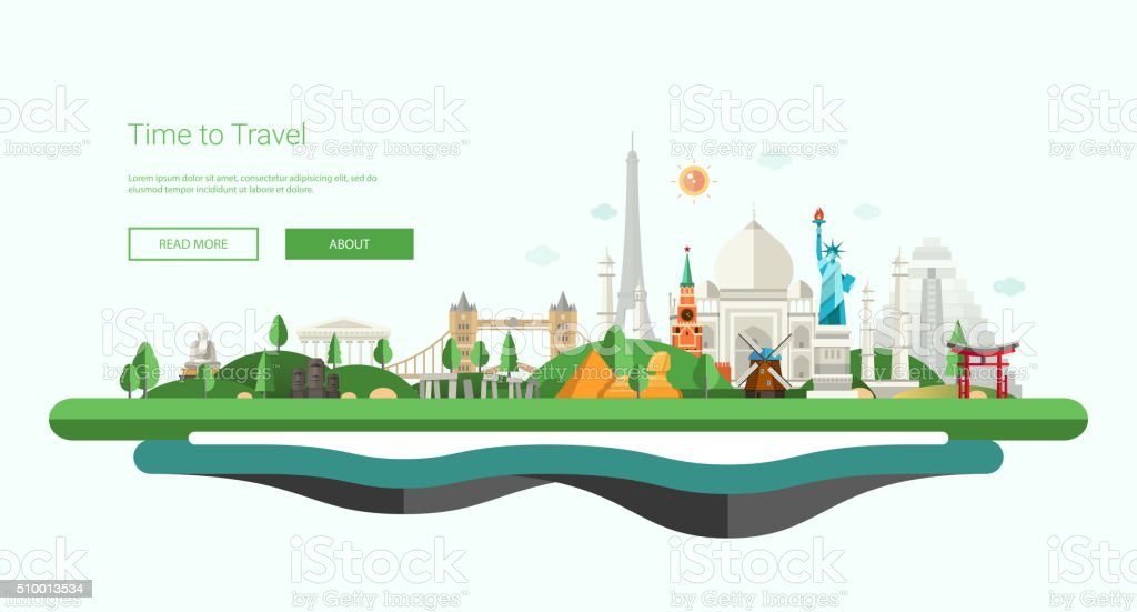 Flat design banner, header illustration with world famous landmarks vector art illustration