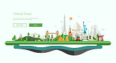 Flat design banner, header illustration with world famous landmarks