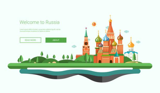 Flat design banner, header travel illustration with Russian landscape Vector illustration of flat design banner, header travel composition with Russian landscape kremlin stock illustrations