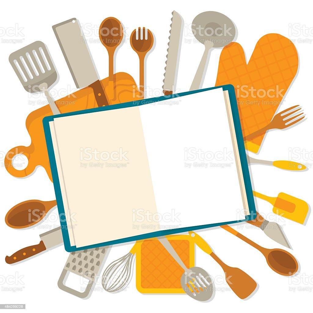 Flat design banner of kitchenware isolated vector art illustration