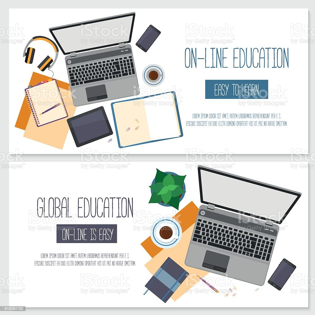 Flat design banners for online education vector art illustration