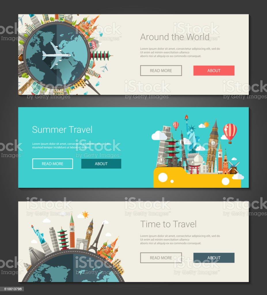 Flat design banners, headers set illustration with world famous landmarks vector art illustration