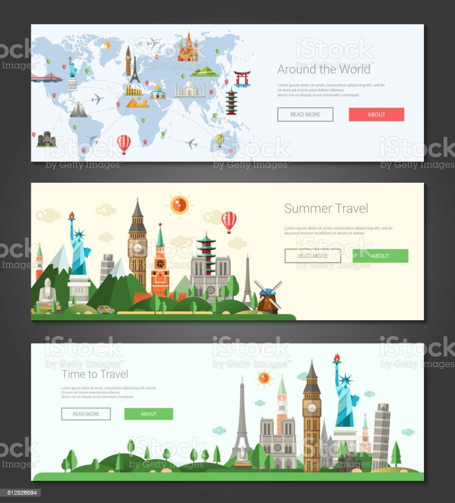 Diseño plano ilustración de banners y cabeceras con los monumentos famosos de mundo - ilustración de arte vectorial