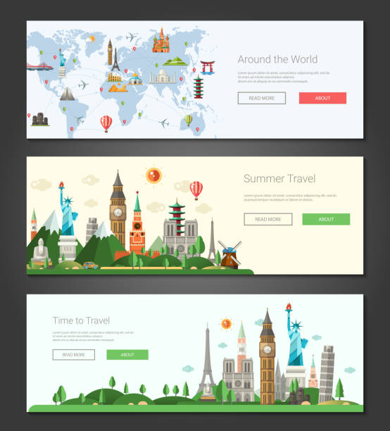 flat design banners, headers set illustration with world famous landmarks - europe travel stock illustrations, clip art, cartoons, & icons
