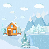 Flat design beautiful snowy Christmas winter lake landscape scene with mountains, clouds, trees, spruces, country rural cartoon house with chimney. Vector nature background illustration.