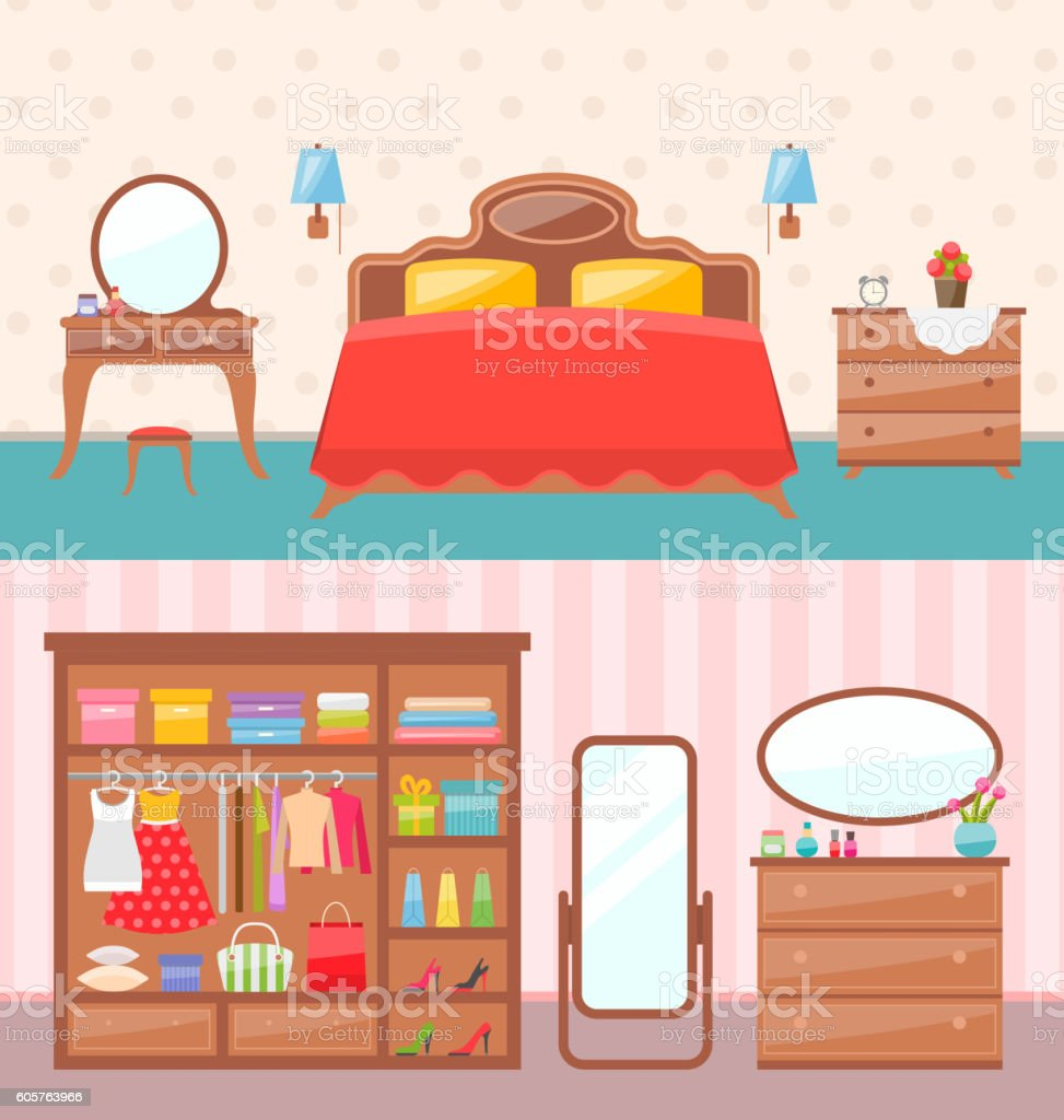 Flat design bedroom interior. Vector illustration. Modern furniture, bunk bed vector art illustration