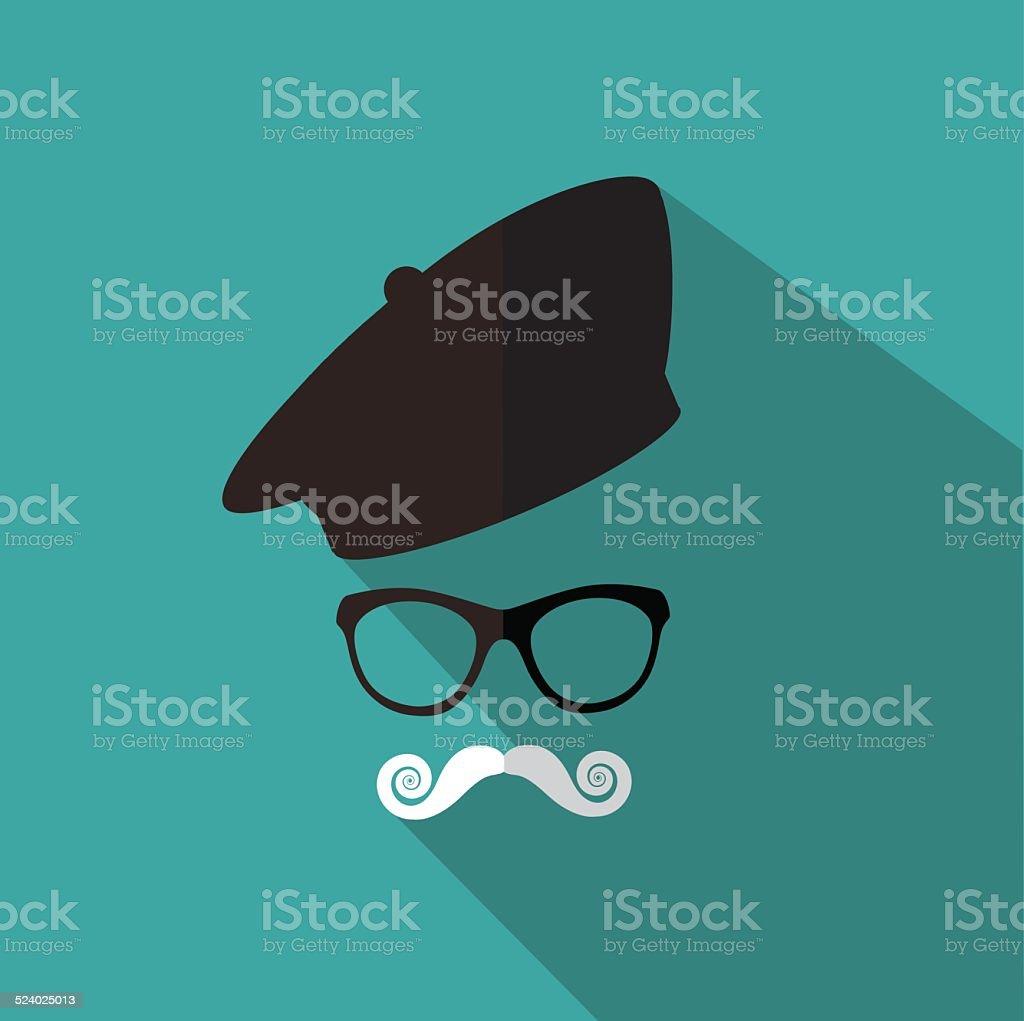 Diseño plano boina, Bigote y gafas - ilustración de arte vectorial