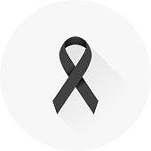 Flat Design Black Awareness Ribbon Icon