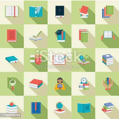 Set of Book icons in flat design style with long side shadow