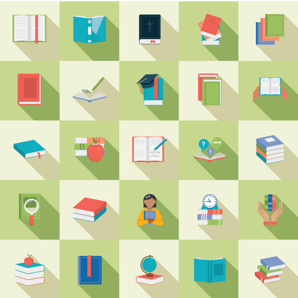 Flat Design Book Icon Set vector art illustration