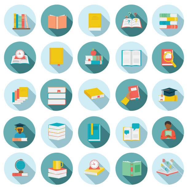 stockillustraties, clipart, cartoons en iconen met platte ontwerp boek icon set - prentenboek