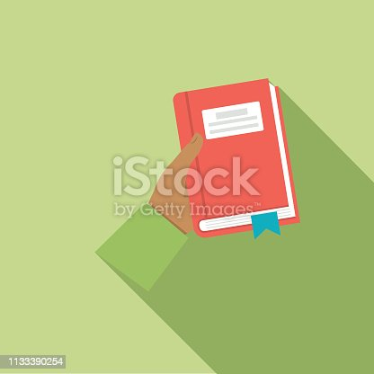 Hand Book icon in flat design style with long side shadow