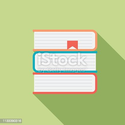 Book icon in flat design style with long side shadow