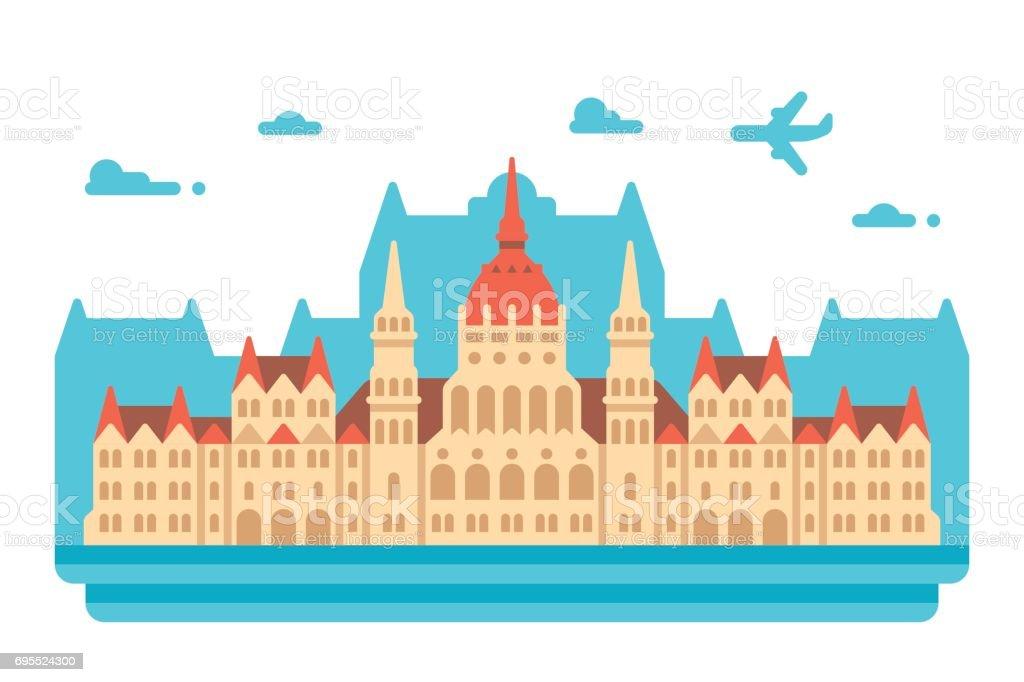 Flat design Budapest Parliament vector art illustration