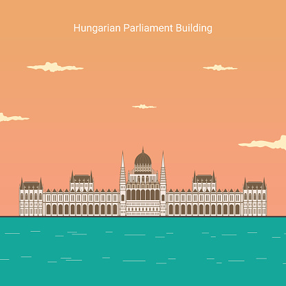 Flat design Budapest Parliament. Vector illustration of the famous landmark building in the capital of Hungary. Hungarian landmark global travel and journey architecture elements. Around the world