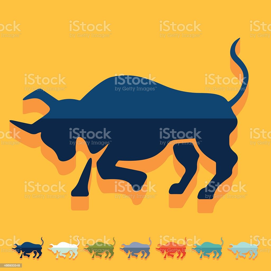 Flat design. bull vector art illustration