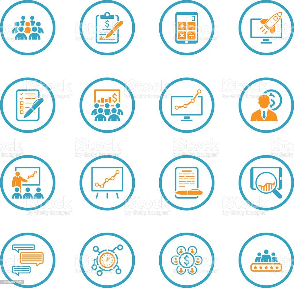 Flat Design Business Icons Set. vector art illustration