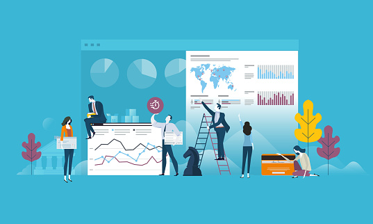 Flat design business people concept for strategy, planning, market research, finance, investment