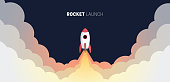 istock Flat design business startup launch concept, rocket icon. Vector illustration. 1178706843
