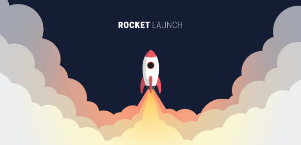 Flat design business startup launch concept, rocket icon. Vector illustration. Flat design business startup launch concept, rocket icon. Vector illustration. rocket stock illustrations