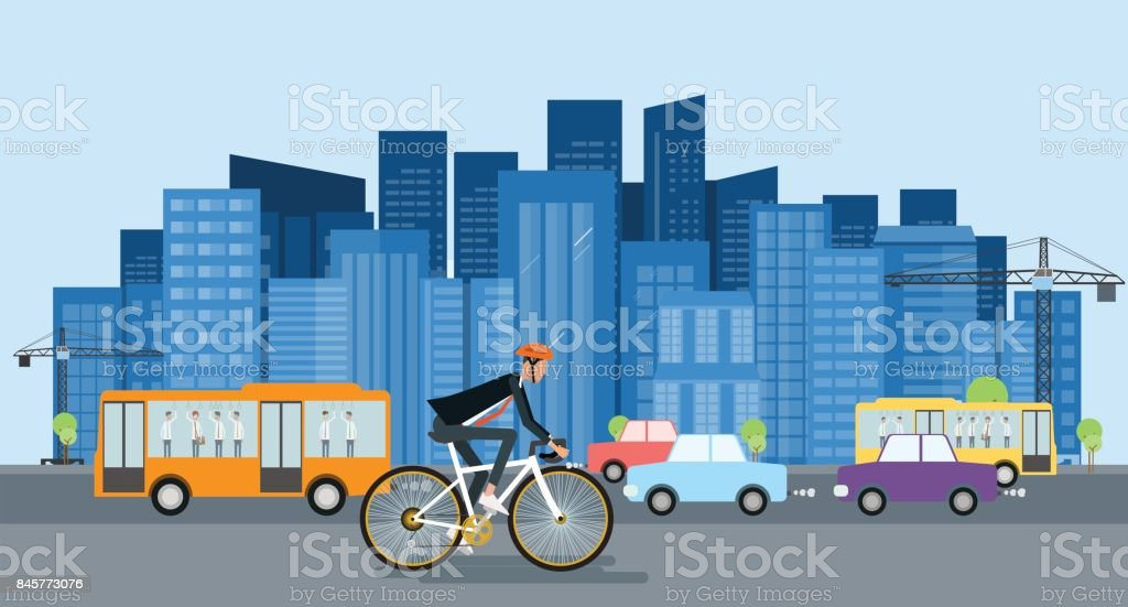 empresário de design plano ir de bicicleta para trabalhar e o conceito de economia de energia - ilustração de arte em vetor