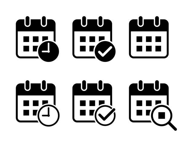 Flat design calendar icon set (Add check mark, clock, magnifying glass) Flat design calendar icon set (Add check mark, clock, magnifying glass) calendar stock illustrations