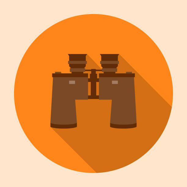 Flat Design Camping Binoculars Icon with Side Shadow vector art illustration