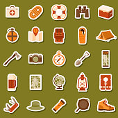 A set of flat design styled camping icons on stickers. File is built in CMYK for optimal printing. Color swatches are global so it's easy to edit and change the colors.