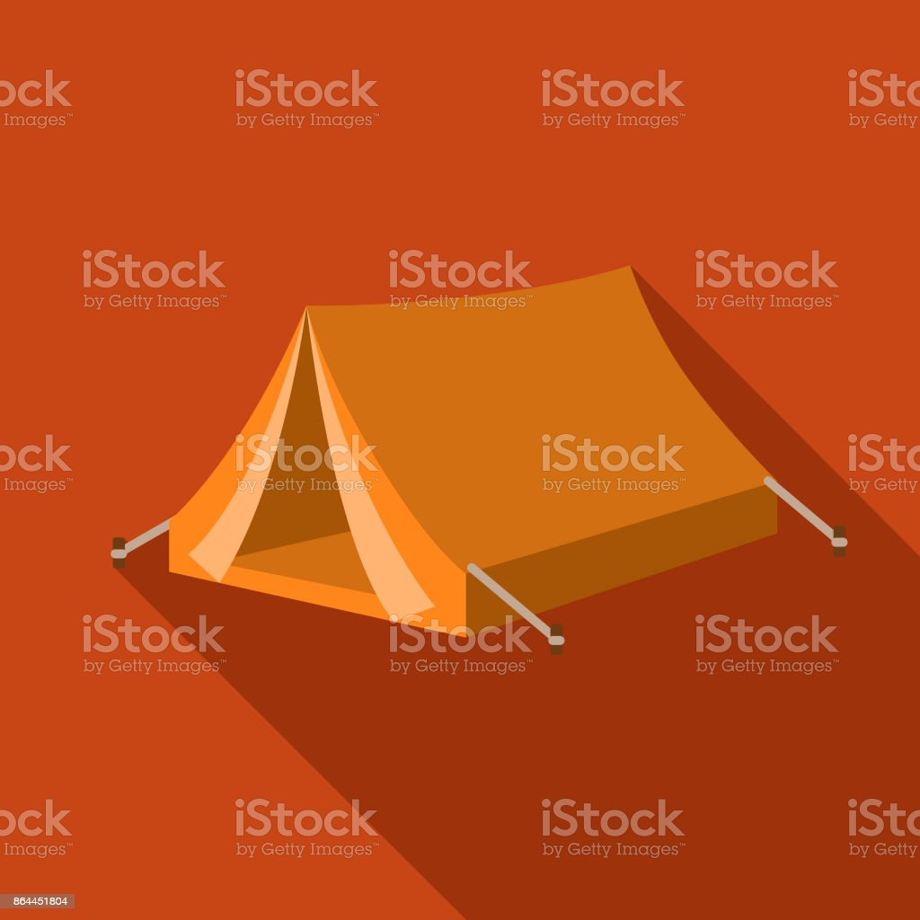 A flat design styled camping icon with a long side shadow. File is...