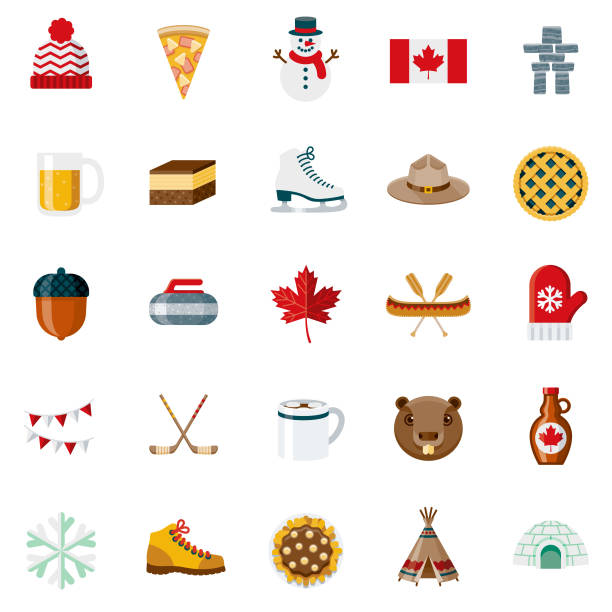 Flat Design Canada Icon Set A set of 25 Canada flat design icons on a transparent background. File is built in the CMYK color space for optimal printing. Color swatches are Global for quick and easy color changes. maple syrup stock illustrations