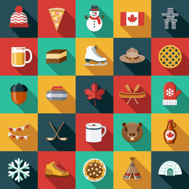 Flat Design Canada Icon Set with Side Shadow A set of flat design styled Canadian icons with a long side shadow. Color swatches are global so it's easy to edit and change the colors. maple syrup stock illustrations