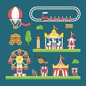 Flat design carnival amusement park
