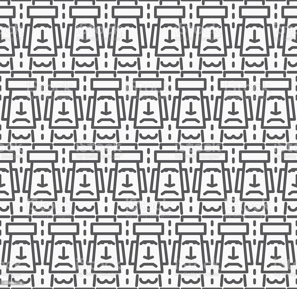 Flat Design Cartoon Easter Island (Rapa Nui) seamless background vector art illustration