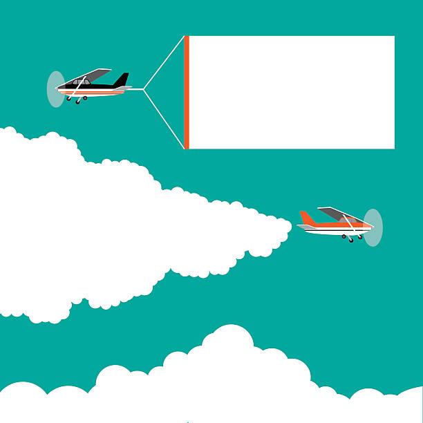 Flat design cartoon small airplanes pulling advertising banners vector art illustration
