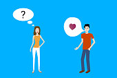 Flat design cartoon vector of a boy attracted to a confused girl and speaking with heart sign.