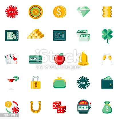 A set of 25 gambling and casino flat design icons on a transparent background. File is built in the CMYK color space for optimal printing. Color swatches are Global for quick and easy color changes.