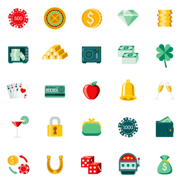 Flat Design Casino & Gambling Icon Set A set of 25 gambling and casino flat design icons on a transparent background. File is built in the CMYK color space for optimal printing. Color swatches are Global for quick and easy color changes. change purse stock illustrations