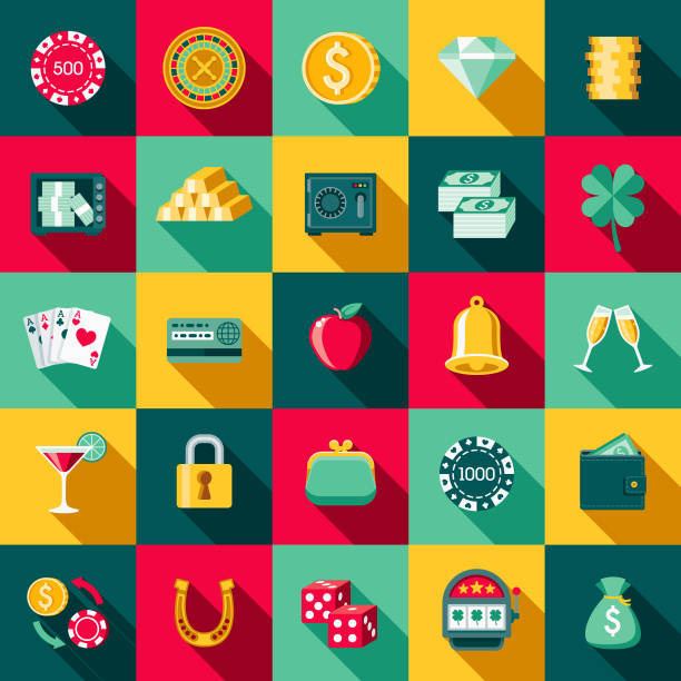 Flat Design Casino Icon Set with Side Shadow A set of flat design styled casino and gambling icons with a long side shadow. Color swatches are global so it's easy to edit and change the colors. gambling chip stock illustrations