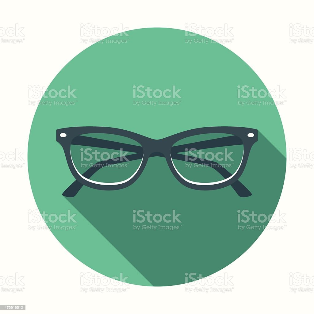 Flat Design Cats Eye Glasses Icon With Long Shadow vector art illustration
