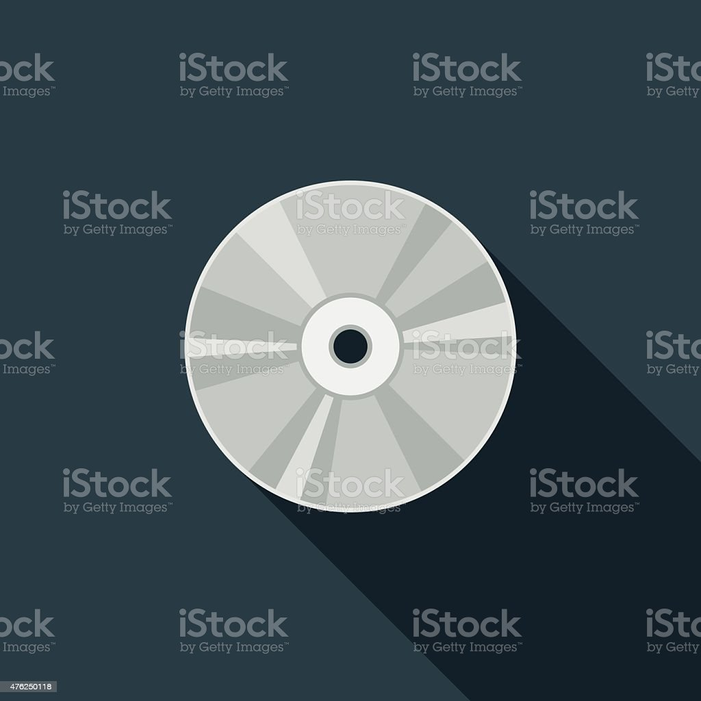 Flat Design CD Icon With Long Shadow vector art illustration