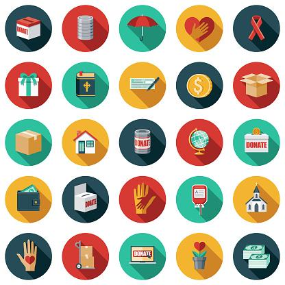 Flat Design Charity & Donation Icon Set